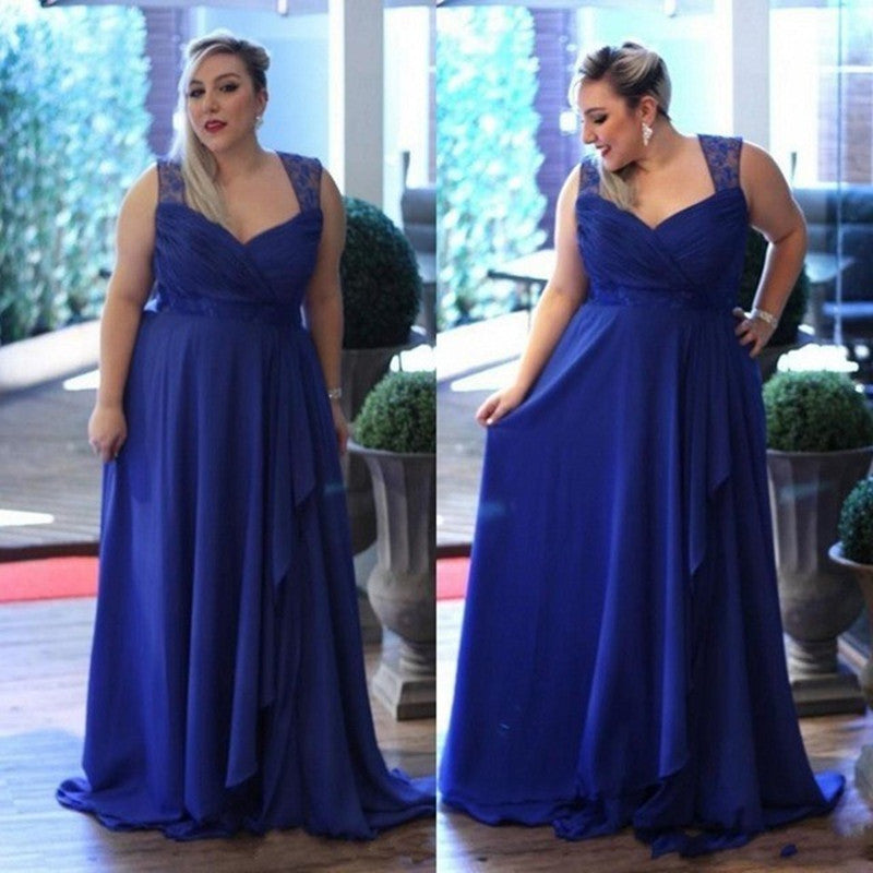 Royal Blue Sweetheart Sleeveless Prom Dress Plus Size Bridesmaid ...