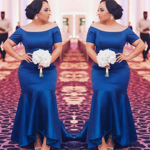 Royal Blue Short Sleeves Mermaid Evening Dresses Plus Size Prom Dresses