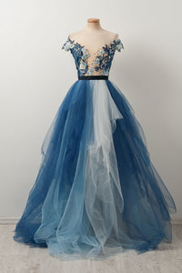 Fashion Blue Off Shoulder A Line Evening Dresses Affordable Prom Dresses