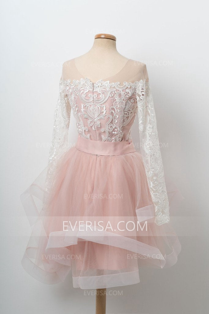 2e951259489f Pink Scoop Neck Long Sleeves Short Homecoming Dresses Lace Prom Dresses