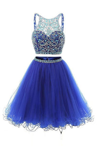 Blue Two Pieces Sleeveless Beaded Homecoming Dresses Short Prom Dresses - EVERISA