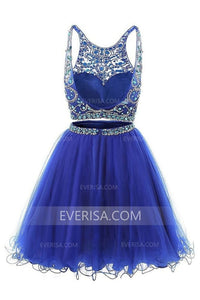 Blue Two Pieces Sleeveless Beaded Homecoming Dresses Short Prom Dresses