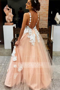 Pink Lace Appliques V Neck Sleeveless Prom Dresses Affordable Evening Dresses