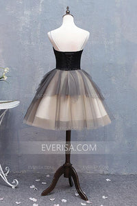 Sweetheart Sleeveless Tiered A Line Homecoming Dresses Short Prom Dresses