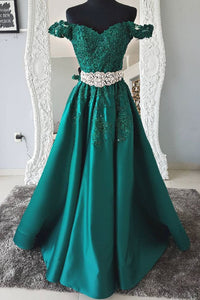 Green Off Shoulder A Line Evening Dresses Long Prom Dresses With Lace Appliques - EVERISA