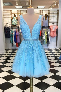 Blue V Neck Sleeveless A Line Prom Dresses Short Homecoming Dresses With Lace Appliques
