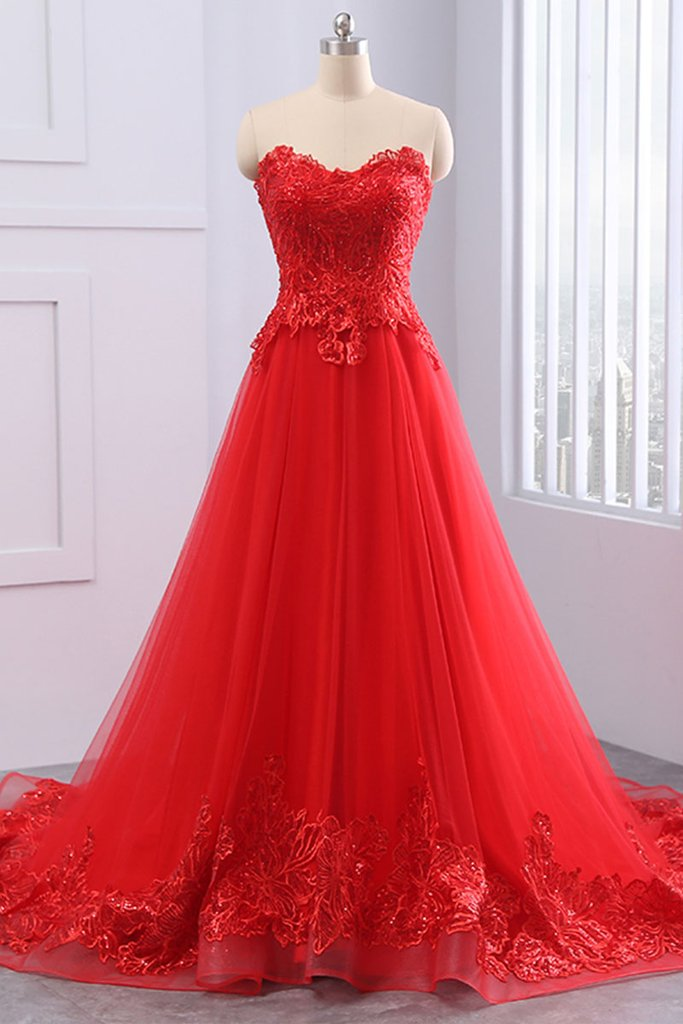 8a5b04cee30 Red Sweetheart Lace Applique A Line Evening Dresses Long Prom Dresses