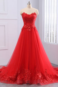 Red Sweetheart Lace Applique A Line Evening Dresses Long Prom Dresses