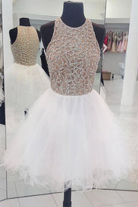 Scoop Neck Sleeveless Homecoming Dresses A Line Short Prom Dresses