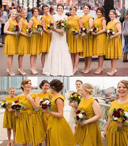 Yellow Scoop Neck Plus Size Bridesmaid Dresses Ruffles Chiffon Prom Dresses