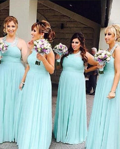 Tiffany Blue Sleeveless Halter Plus Size Bridesmaid Dresses Long Prom Dresses