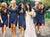 Navy Blue V Neck Short Sleeves Bridesmaid Dresses Plus Size Prom Dresses