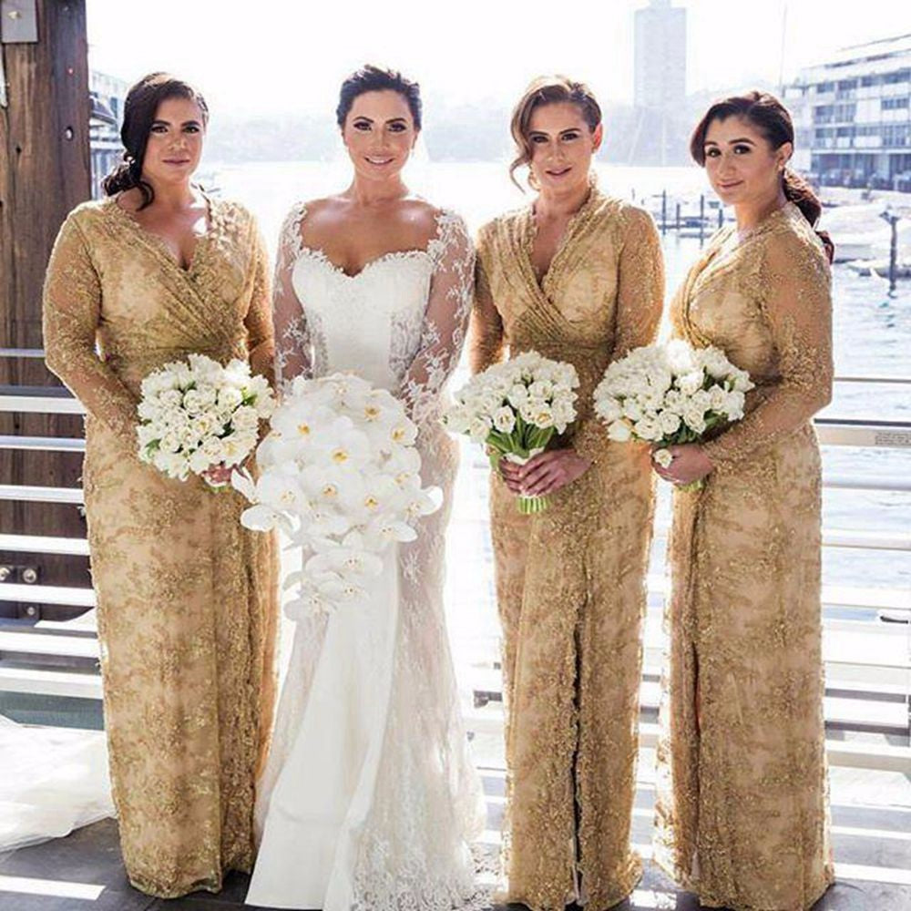 Gold V Neck Long Sleeves Lace Bridesmaid Dresses Plus Size Prom Dresses