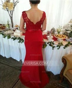 Unique Red Slim-line Sleeveless V-Neck Lace Bridesmaid Dress Cheap Prom Dresses