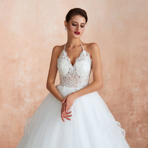 White/Ivory Halter Sleeveless Backless Wedding Dresses With Lace
