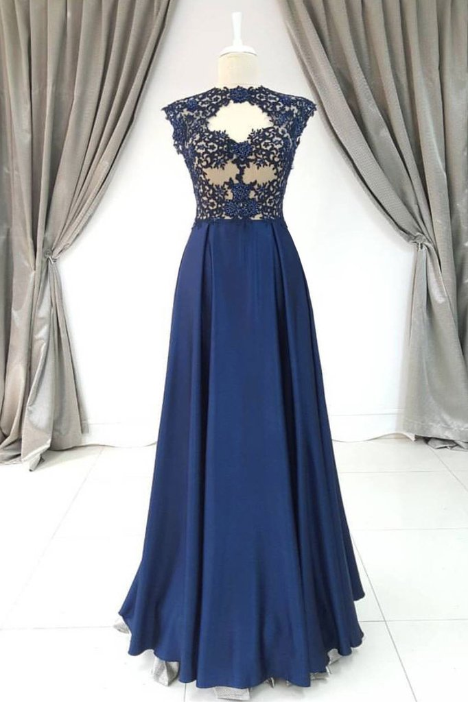 Navy Blue Sleeveless Lace Prom Dresses A Line Satin Cheap Evening ...