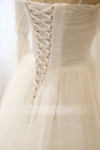 Simple White Long Sleeves Pleated Tulle Prom Dresses Affordable Evening Dresses - EVERISA