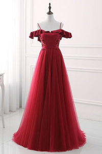 Burgundy Lace Appliques Open Back Long Prom Dresses Cheap Evening Dresses