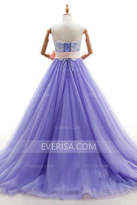 Strapless Sleeveless Lace Applique Evening Dresses Long Prom Dresses With Sash