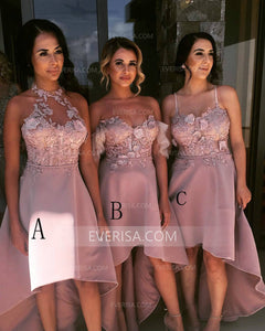 Dusty Pink Sleeveless High Low Bridesmaid Dresses A Line Prom Dresses - EVERISA