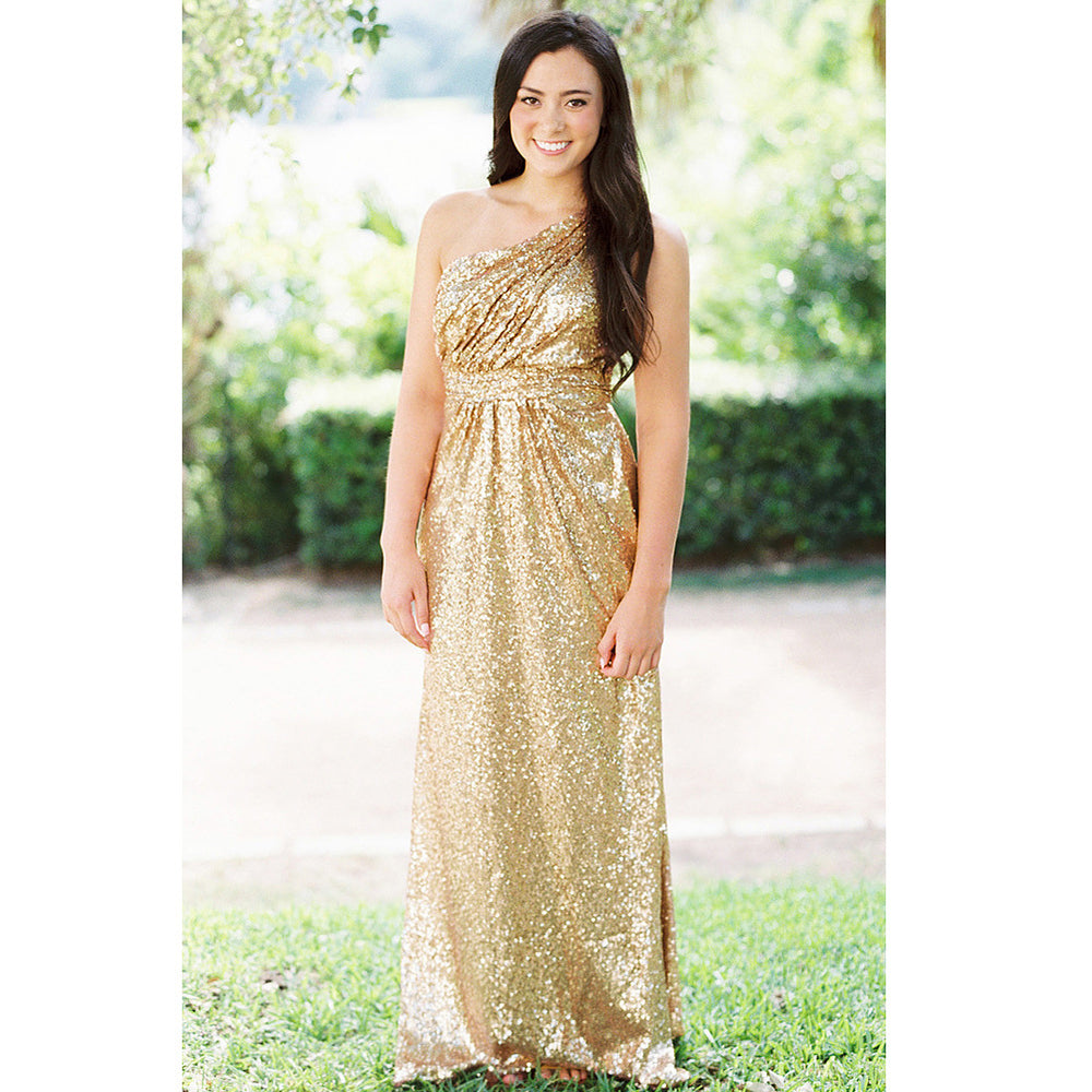 d8eeaeb5e7a Gold One Shoulder Sleeveless Sequin Bridesmaid Dresses Cheap Prom Dresses -  EVERISA