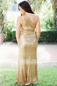 Gold One Shoulder Sleeveless Sequin Bridesmaid Dresses Cheap Prom Dresses - EVERISA