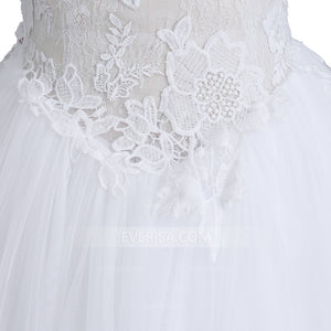 White High Neck Sleeveless Lace Wedding Dresses A Line Bridal Dresses - EVERISA