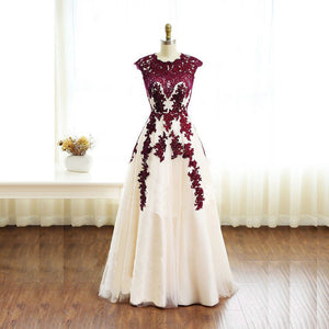 Burgundy Lace Applique A Line Prom Dresses Long Formal Dresses