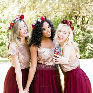 Burgundy Tulle Bridesmaid Dresses Two Pieces Sequin Graduation Dresses
