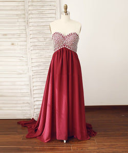 Burgundy Sweetheart Crystals Prom Dresses A Line Graduation Dresses - EVERISA