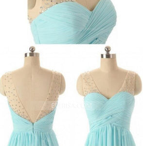 Unique Tiffany Blue V-Neck Chiffon Prom Dress Long Evening Dress With Rhinestone