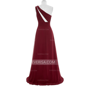 Burgundy One Shoulder Long Bridesmaid Dresses Chiffon Formal Dresses