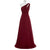 Burgundy One Shoulder Long Bridesmaid Dresses Chiffon Formal Dresses - EVERISA