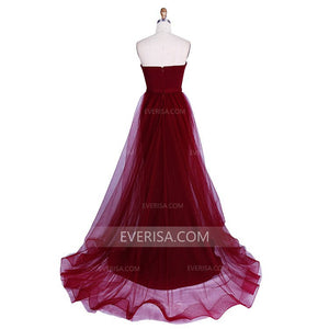 Burgundy Strapless Sleeveless Satin Prom Dresses Long Formal Dresses