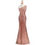Rose Gold One Shoulder Sequin Prom Dresses Mermaid Graduation Dresses