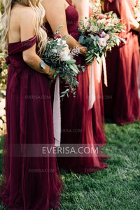 Burgundy Sweetheart Sleeveless Backless Tulle Bridesmaid Dresses - EVERISA