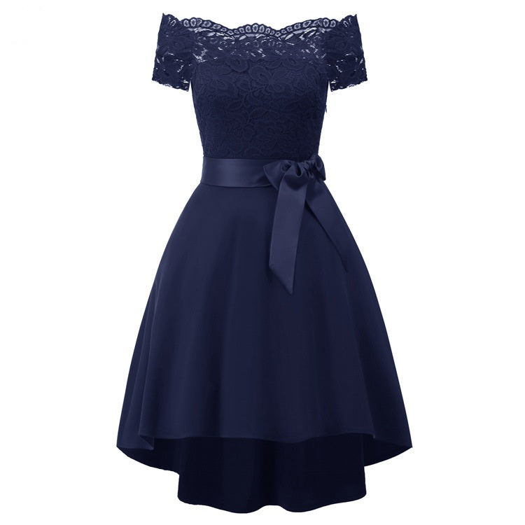 91a51c9e619f Navy Blue Off Shoulder A Line Homecoming Dresses