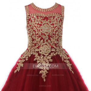 Burgundy Scoop Neck Lace Applique Prom Dresses,Beaded Sweet 16 Dresses - EVERISA