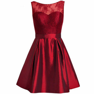Burgundy Scoop Neck Lace Homecoming Dresses,Short Sweet 16 Dresses