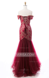 Burgundy Sweetheart Off Shoulder Mermaid Prom Lace Formal Dresses - EVERISA