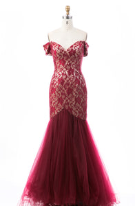 Burgundy Sweetheart Off Shoulder Mermaid Prom Lace Formal Dresses