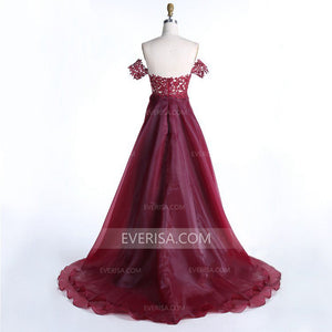 Burgundy Off Shoulder Lace Prom Dresses High Low Evening Dresses - EVERISA