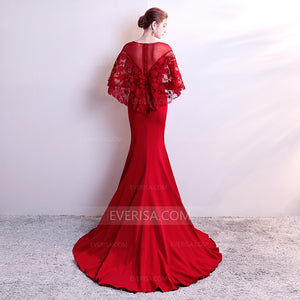 Burgundy Two Pieces Lace Prom Dresses Mermaid Formal Dresses