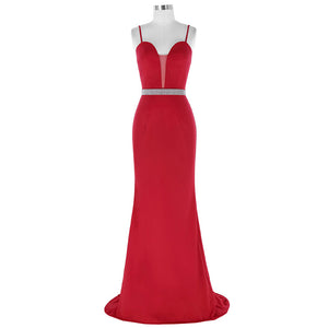 Burgundy Spaghetti Straps Beaded Prom Dresses Sleeveless Formal Dresses