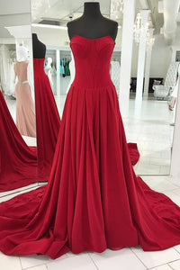 Simple Red Strapless Sleeveless Satin Prom Dresses A Line Evening Dresses - EVERISA