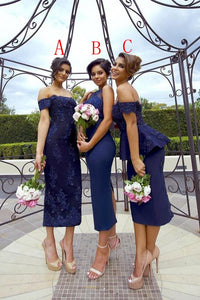 Navy Blue Off Shoulder Tea Length Beaded Bridesmaid Dresses