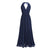 Navy Blue V Neck Sleeveless Chiffon Prom Dresses Long Evening Dresses