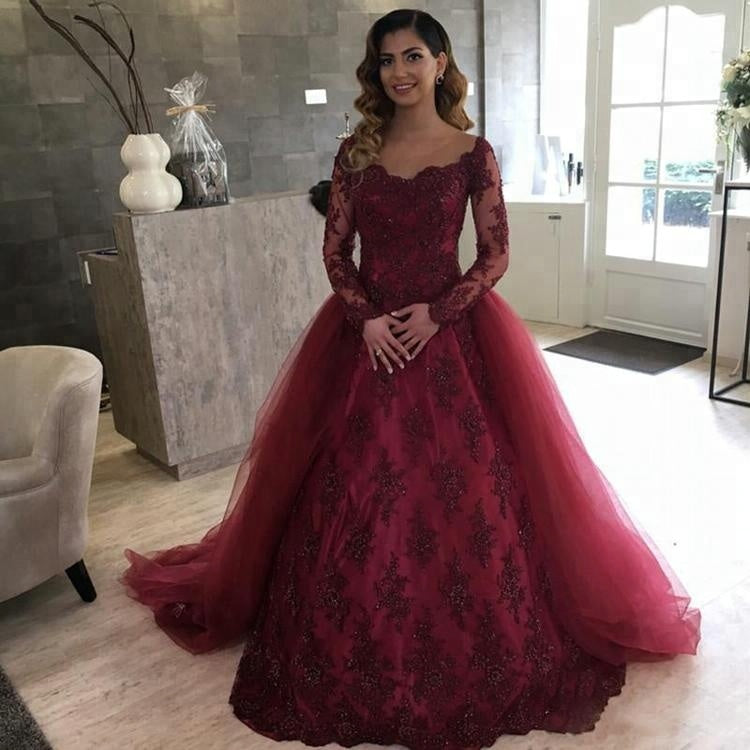 Maroon Prom Dresses with Sleeves