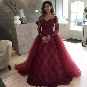 Burgundy Long Sleeves A Line Prom Dresses Lace Quinceanera Dresses