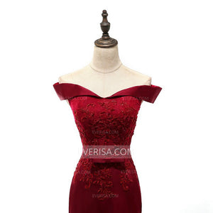 Burgundy Off Shoulder Mermaid Prom Dresses,Satin Formal Dresses - EVERISA